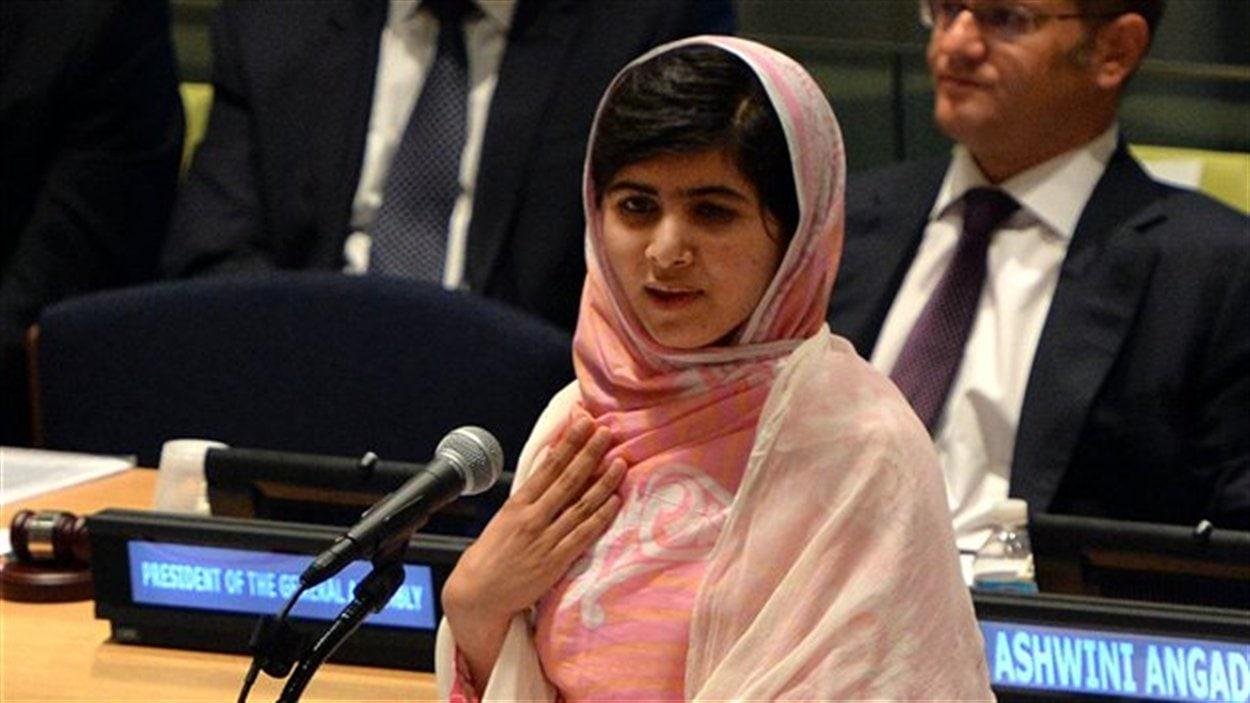 Malala Yousafzai, 16 ans, prononçant un discours devant l'Assemblée générale des Nations unies, en juillet 2013