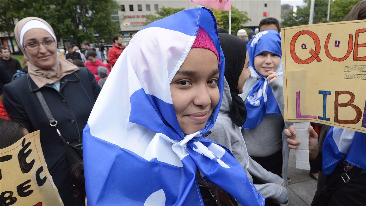 Manifestante contre la charte à Montréal, le 14 septembre 2013.