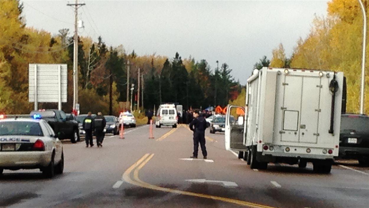 Route bloquée par la GRC au Nouveau-Brunswick