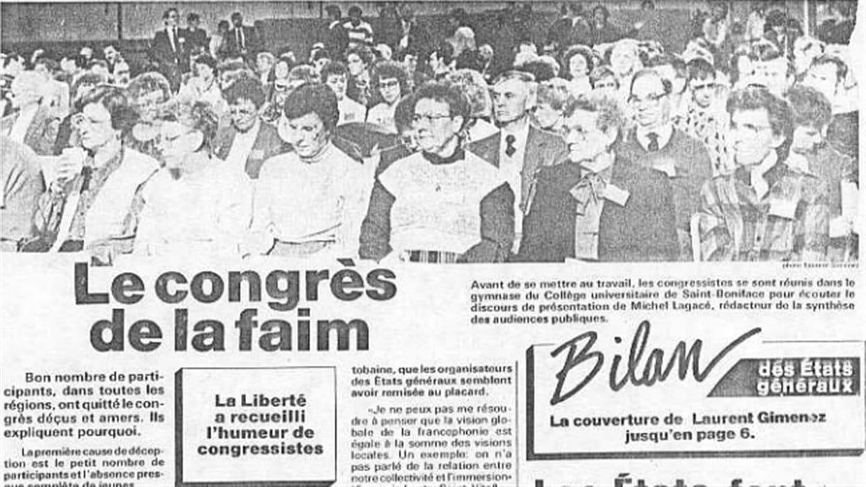 Une image et le titre d'un article de l'édition du 11 au 17 mars 1988 du journal La Liberté sur les opinions au sujet du congrès des états généraux de la francophonie manitobaine.