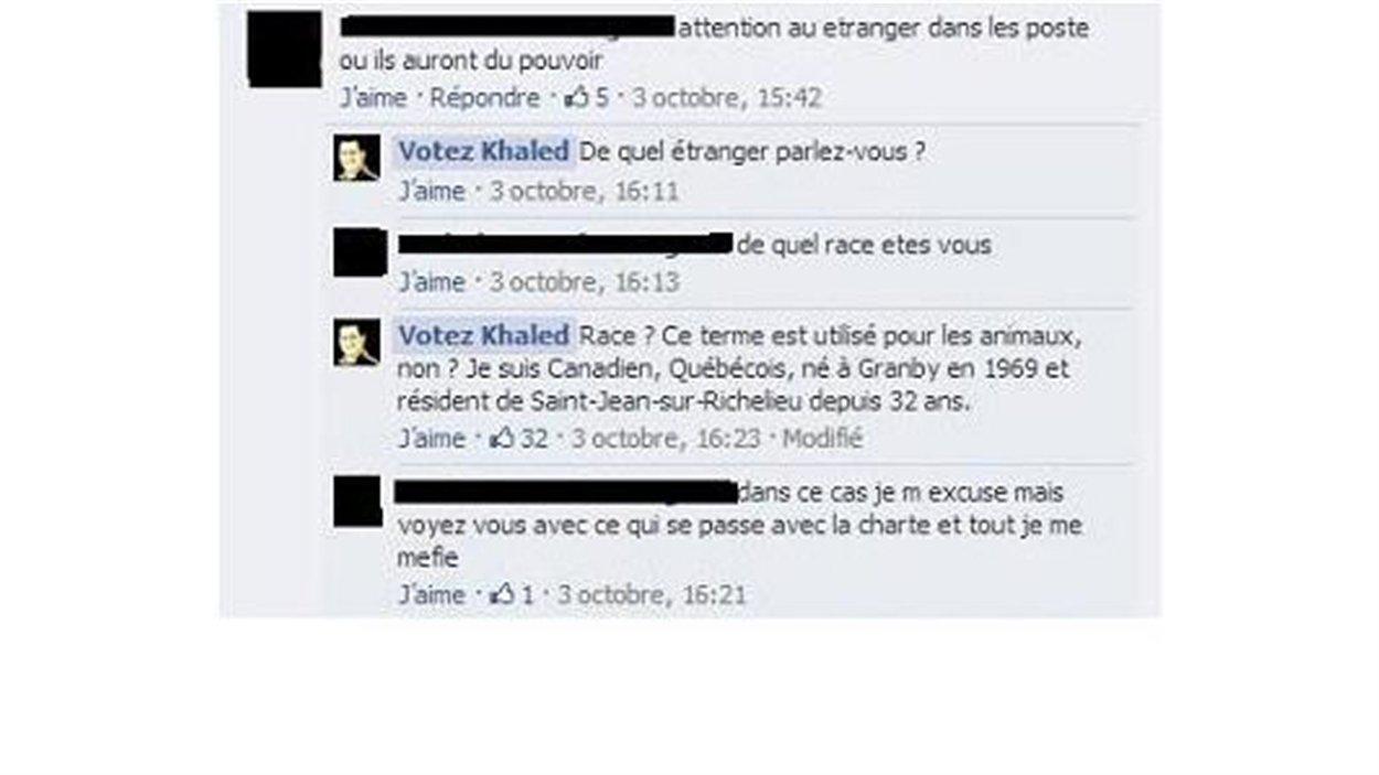 Extrait de la page Facebook du candidat Khaled Kalille