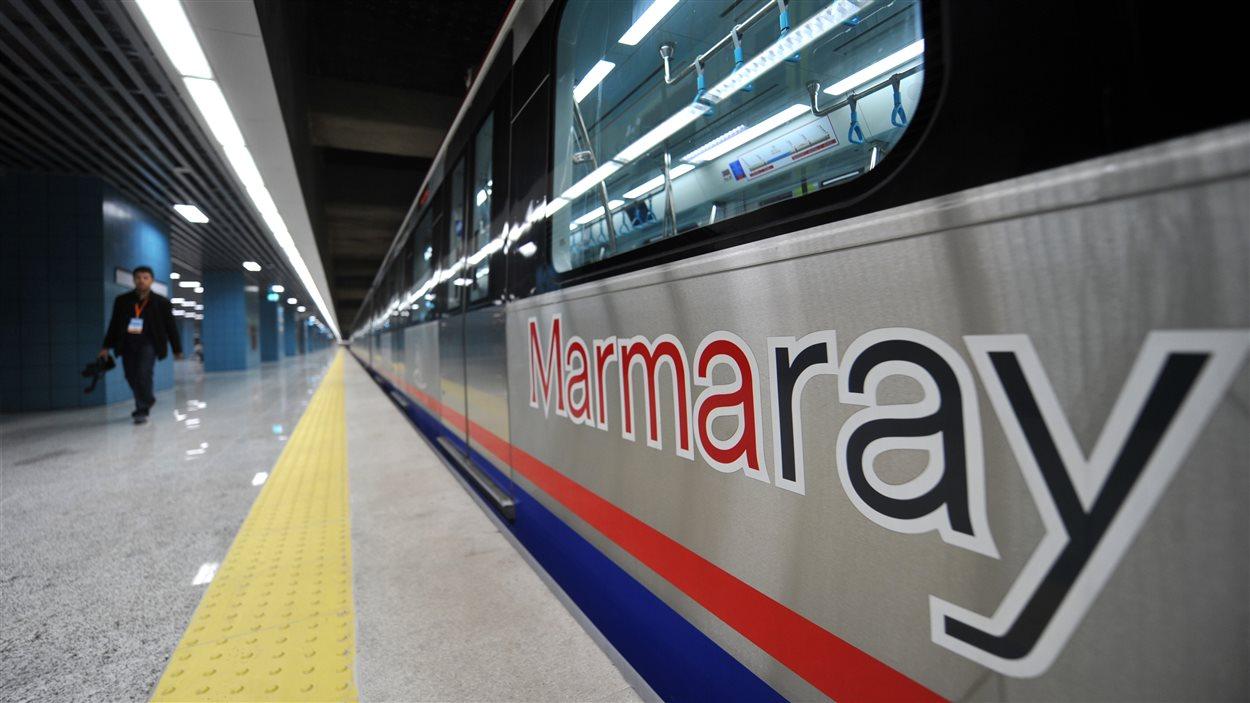 Un wagon de la voiture du métro qui circulera dans le nouveau tunnel sous le Bosphore, à Istanbul