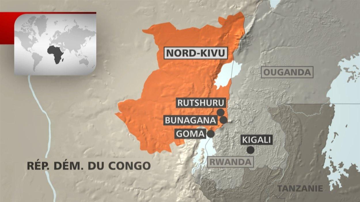 Carte de la région congolaise où sévissent les combats.