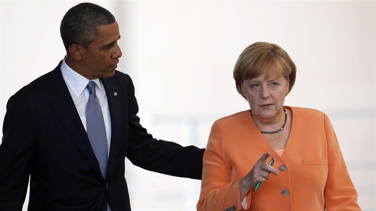 Le président américain Barack Obama et la chancellière allemande Angela Merkel, le 19 juin 2013