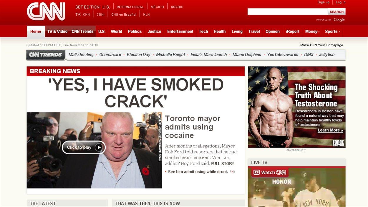 La confession de Rob Ford à la une du site de CNN