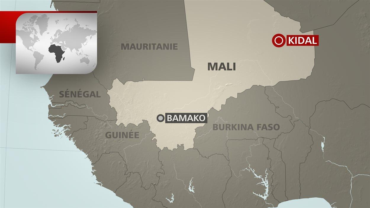 Carte de Kidal, dans le nord du Mali