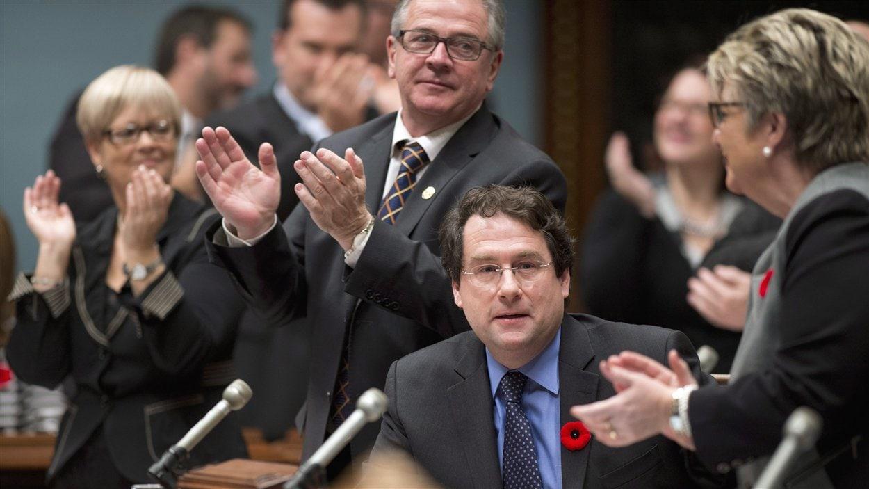 Le ministre Bernard Drainville lors du dépôt du projet de loi sur la charte des valeurs à l'Assemblée nationale, le 7 novembre 2013.