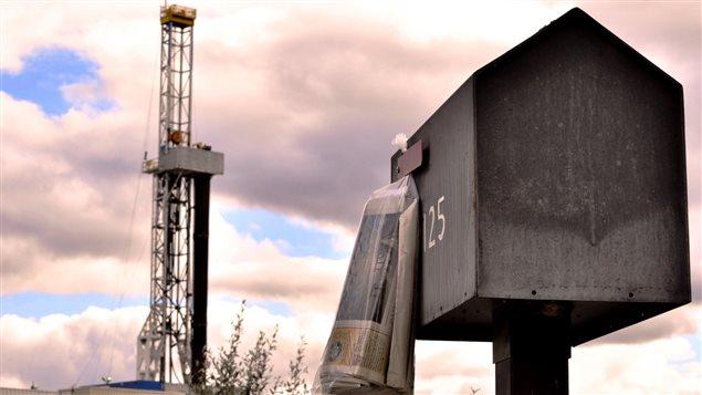 Une tour de forage pour le gaz de schiste en Pennsylvanie