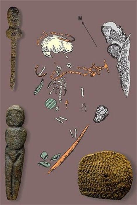 Les artéfacts découverts avec le corps du garçon incluent une représentation de Vénus