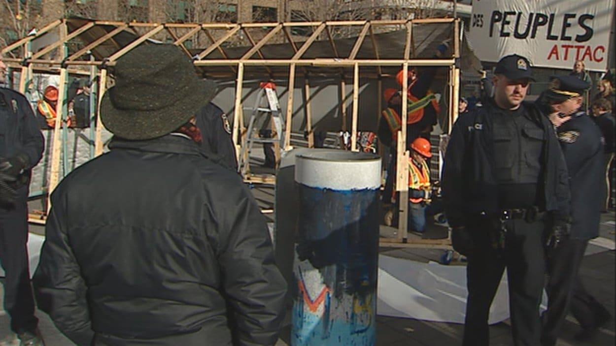 Le campement des indignés à Québec en novembre 2012.