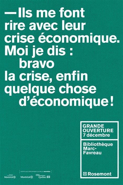Une des affiches annonçant l'ouverture de la bibliothèque Marc-Favreau, à Montréal