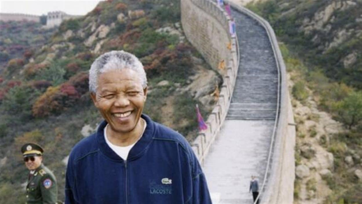 Mandela sur la muraille de Chine