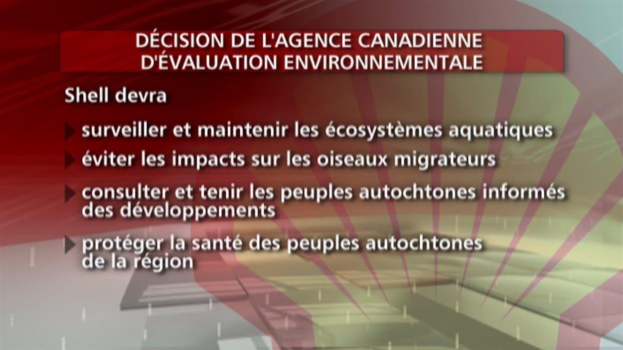 Tableau présentant quelques unes des conditions imposées à Shell