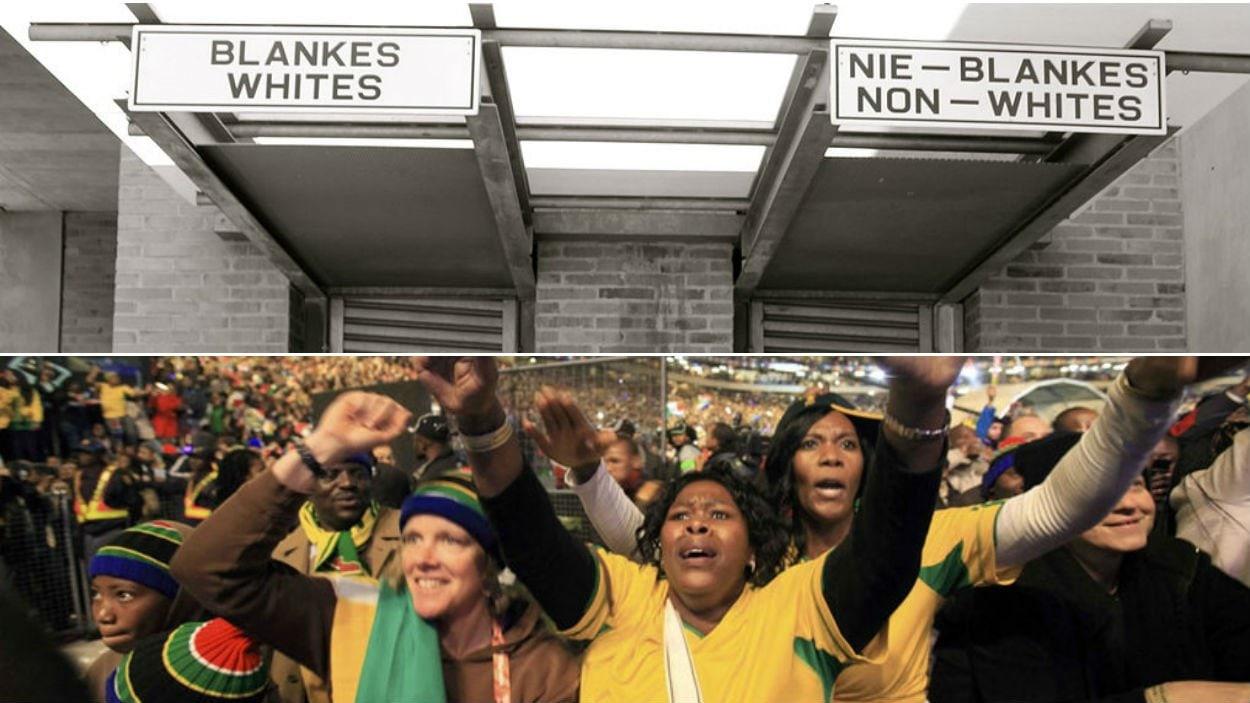 L'entrée du musée de l'apartheid à Johannesburg /  35 000 personnes réunies dans le stade de Soweto pour assister au spectacle d'ouverture de la Coupe du monde 2010.