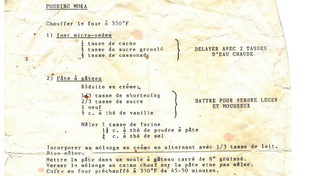 La recette de pouding moka de la mère de la harpiste Valérie Milot