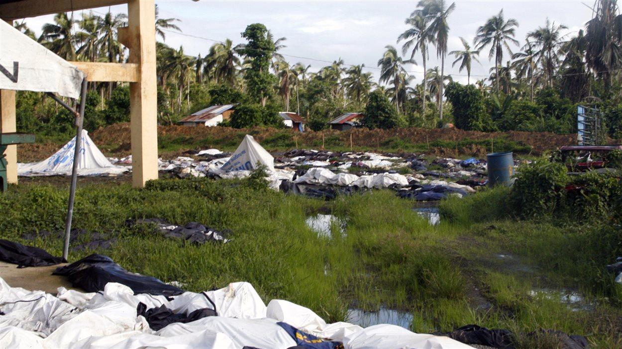 Des sacs mortuaires contenant les restes des victimes du typhon dans les locaux d'un Centre de santé aux Philippines le le 28 décembre 2013.