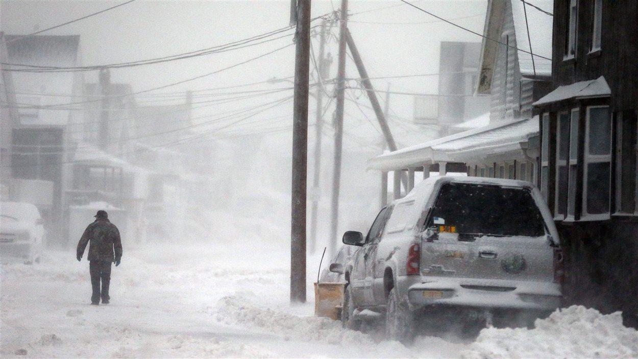 La ville de Scituate, sur la côte du Massachusetts, en plein blizzard, le 3 janvier