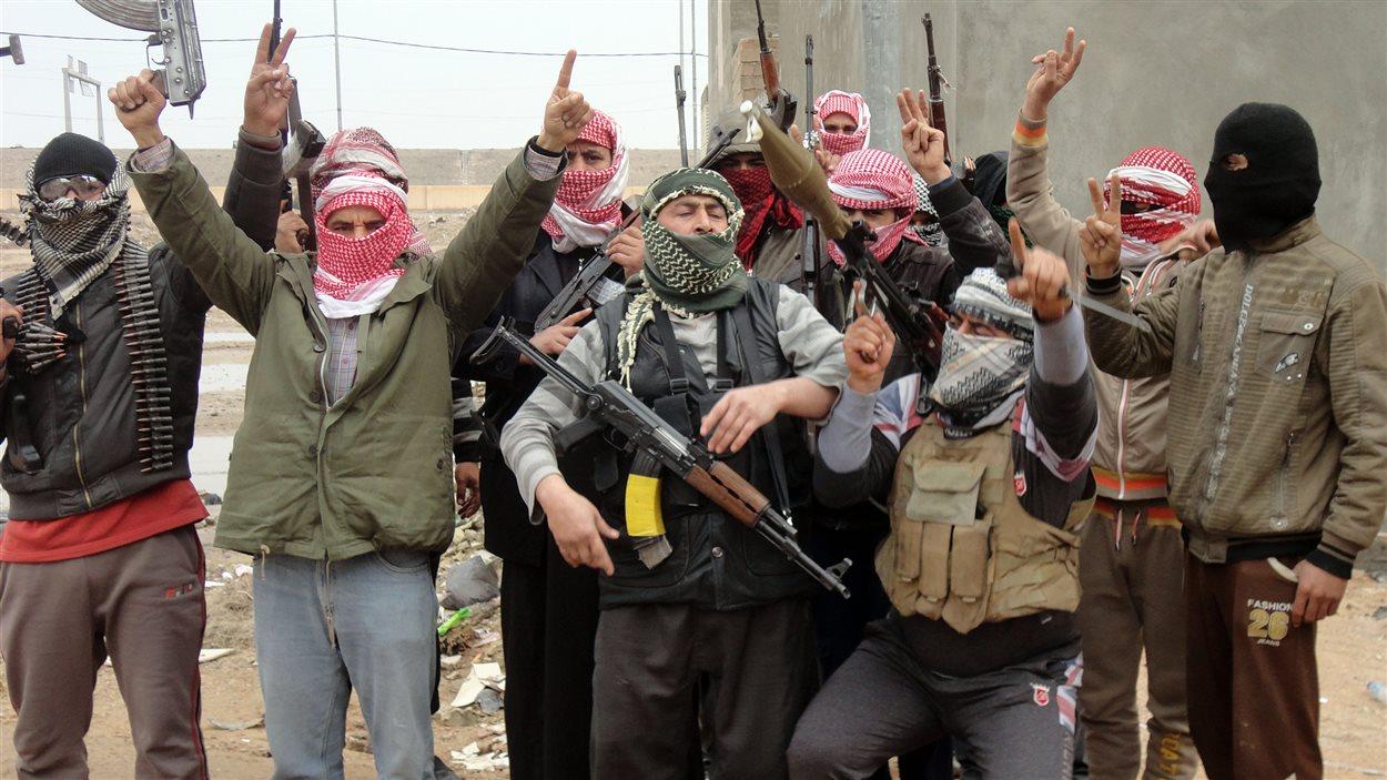 Des combattants tribaux de Falloudja exhibent leurs armes.