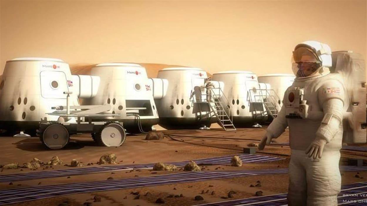 Représentation d'un astronaute sur Mars