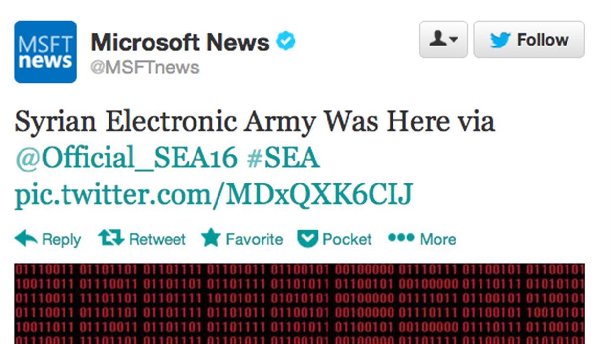 L'Armée électronique syrienne revendique le piratage du compte Twitter de Microsoft.