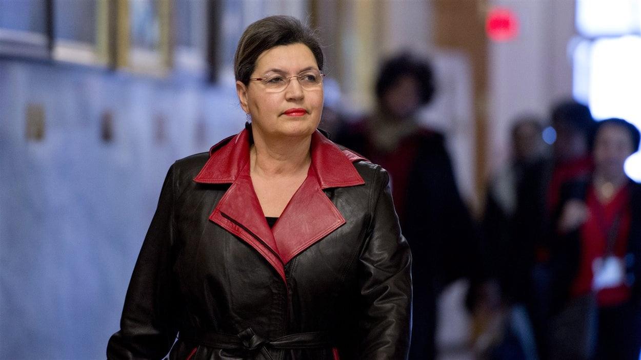 Fatima Houda-Pepin à son arrivée au caucus libéral, le 20 janvier 2014.
