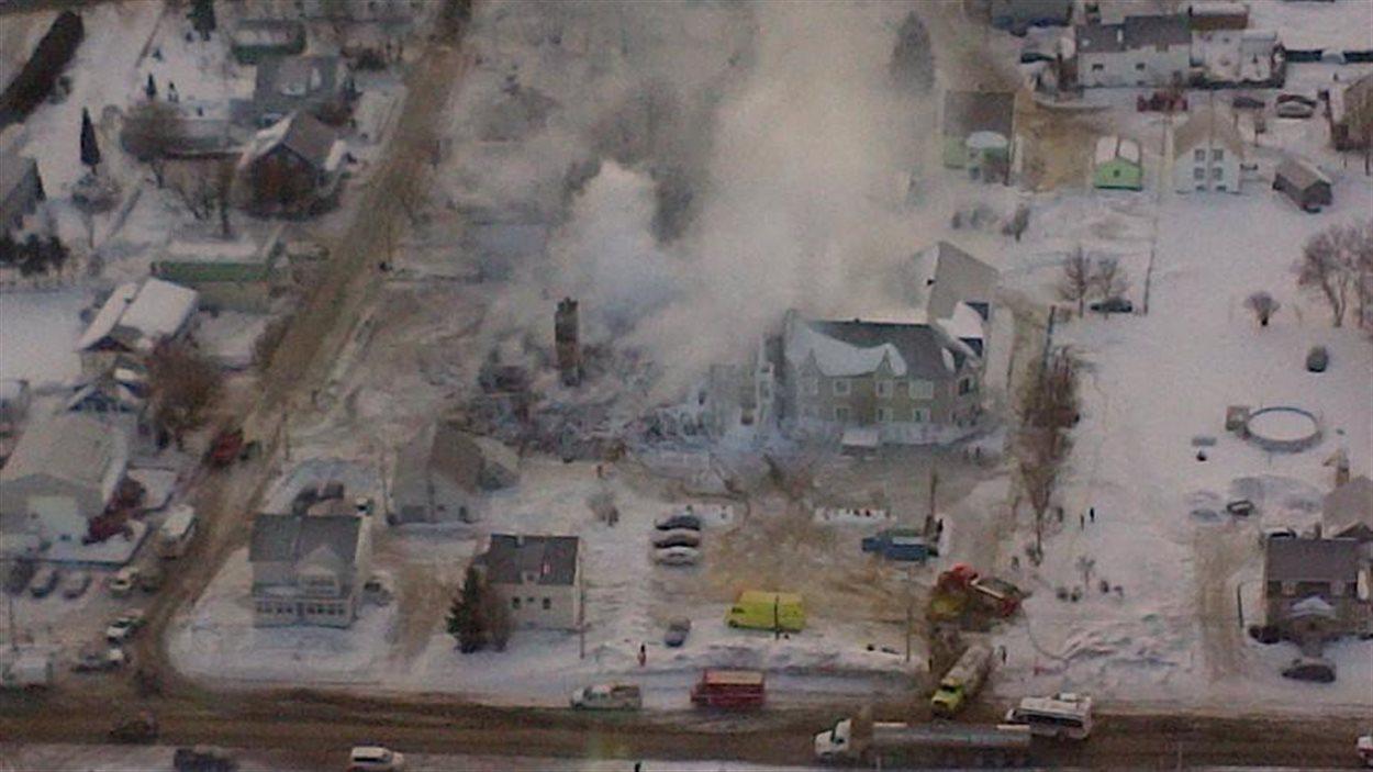 Vue aérienne des lieux du drame.