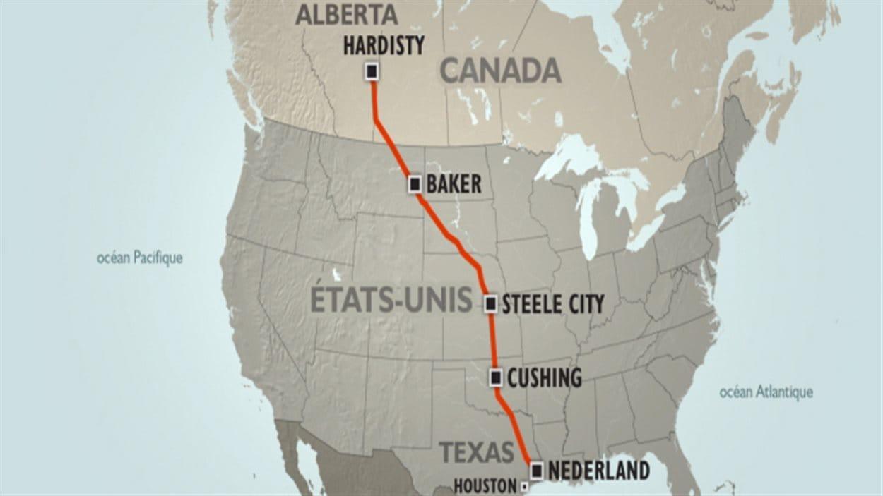Le tracé du projet de pipeline Keystone XL de TransCanada.