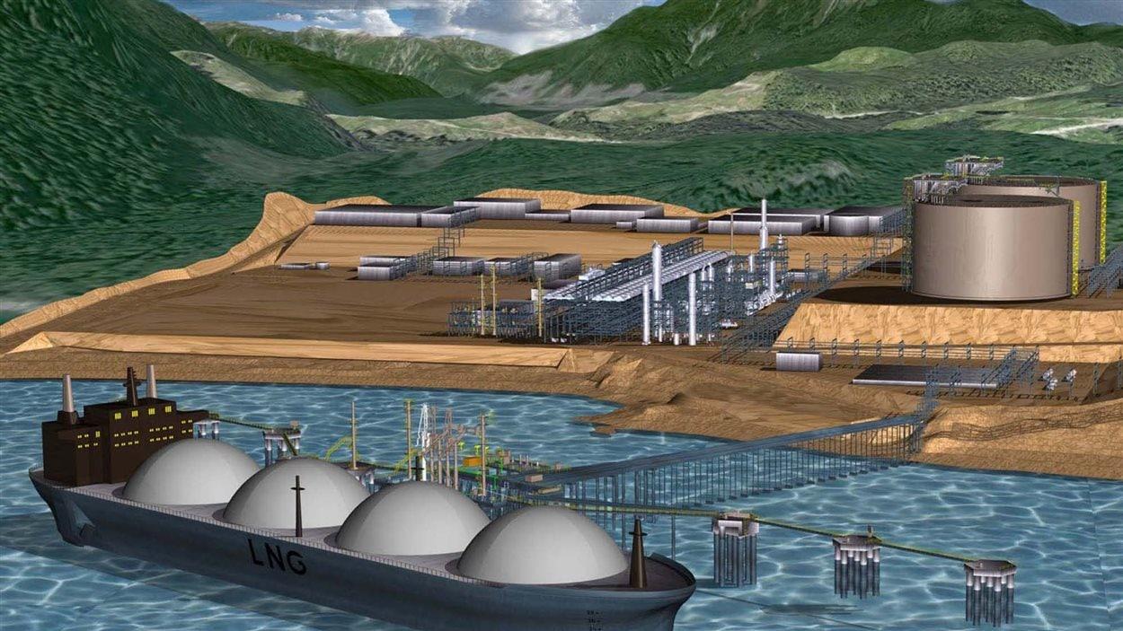 Une image de synthèse d'un projet d'usine de gaz naturel liquéfié à Kitimat.