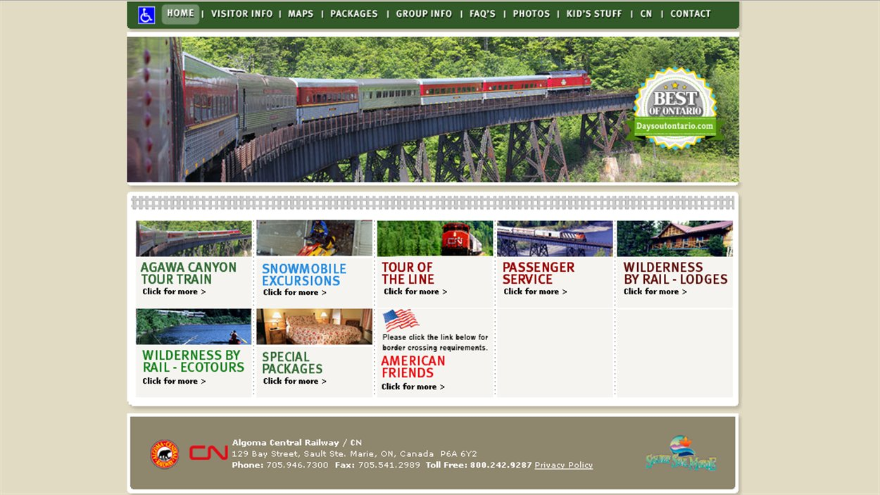 Site promotionnel du circuit d'Algoma Central Railways