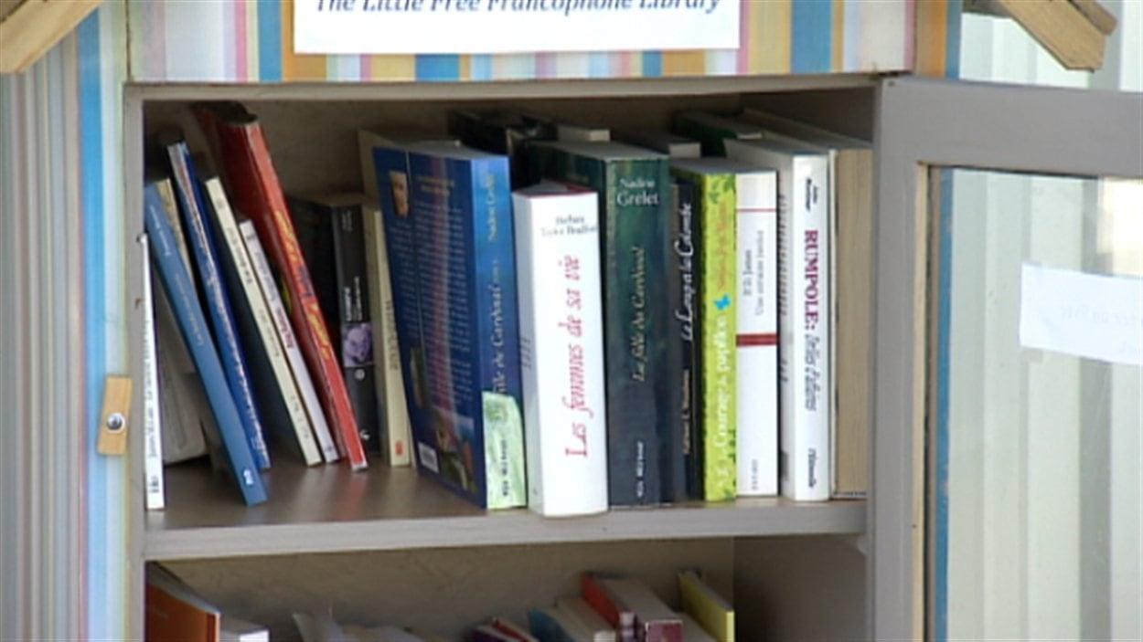 Des livres en français dans la petite bibliothèque en service libre et gratuit, à Edmonton