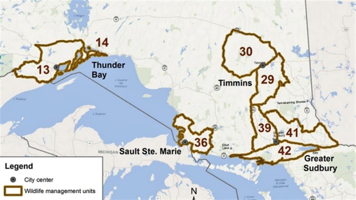 Territoires où la chasse à l'ours printanière sera permise ce printemps en Ontario