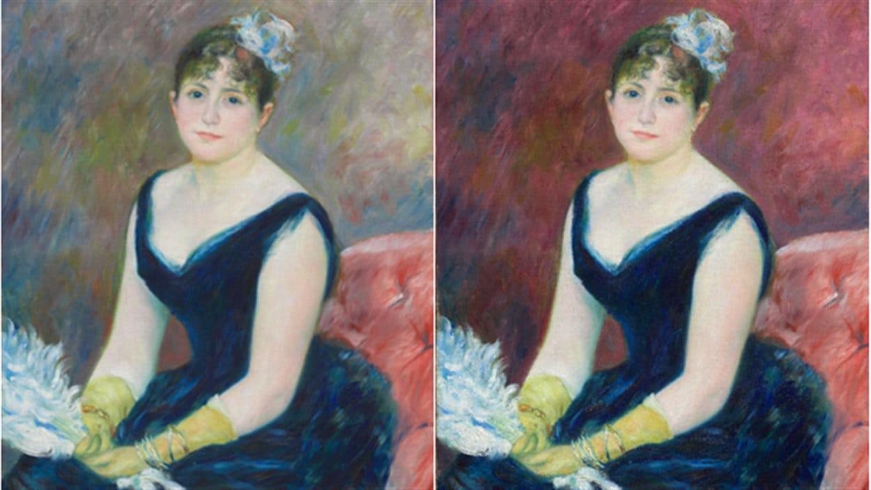 Reproduction informatique d'une restauration de la toile « Madame Léon Clapisson », de Renoir.