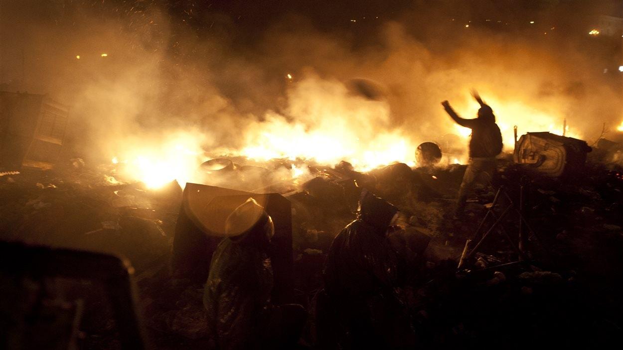 Manifestants à Kiev, le 19 février