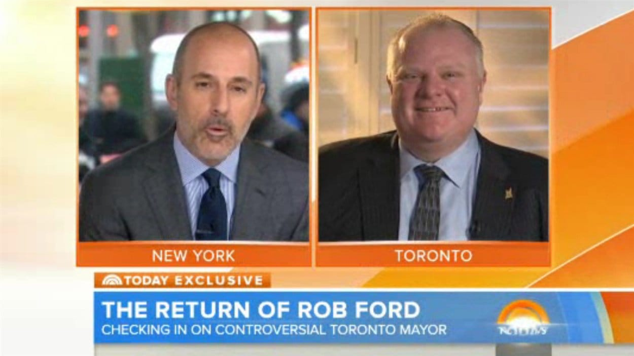 Le maire Rob Ford à l'émission Today Show mardi matin