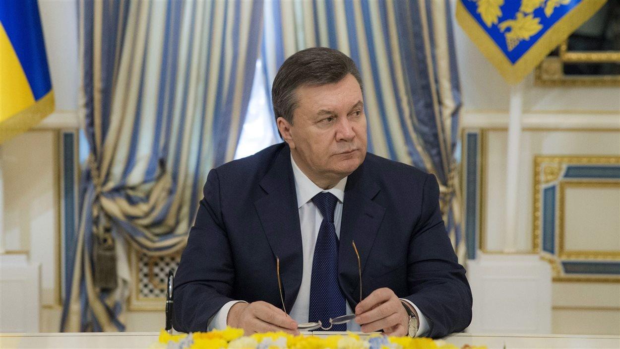 Le président ukrainien déchu, Viktor Ianoukovitch, le 21 février, à Kiev