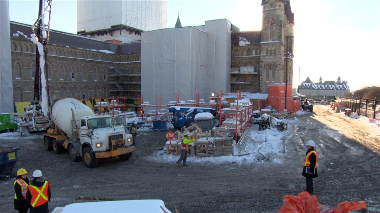Rénovations de l'édifice de l'Ouest sur la colline du Parlement à Ottawa.