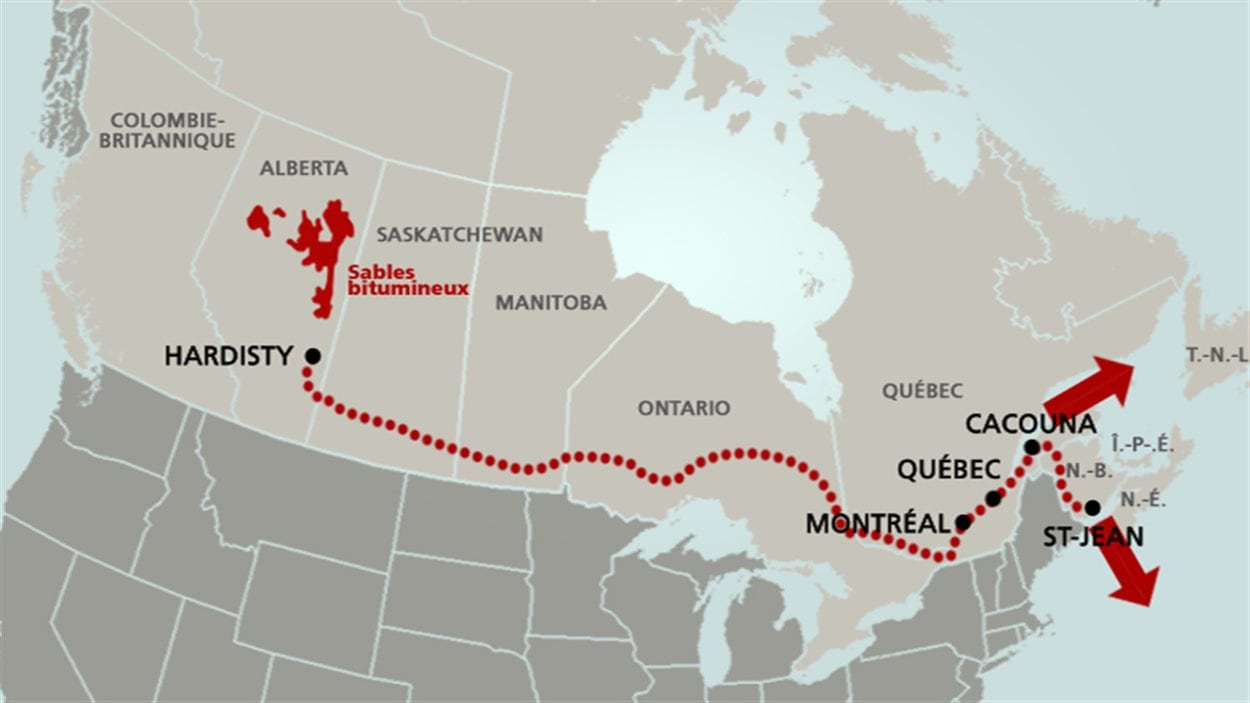 Le tracé prévu du pipeline de TransCanada