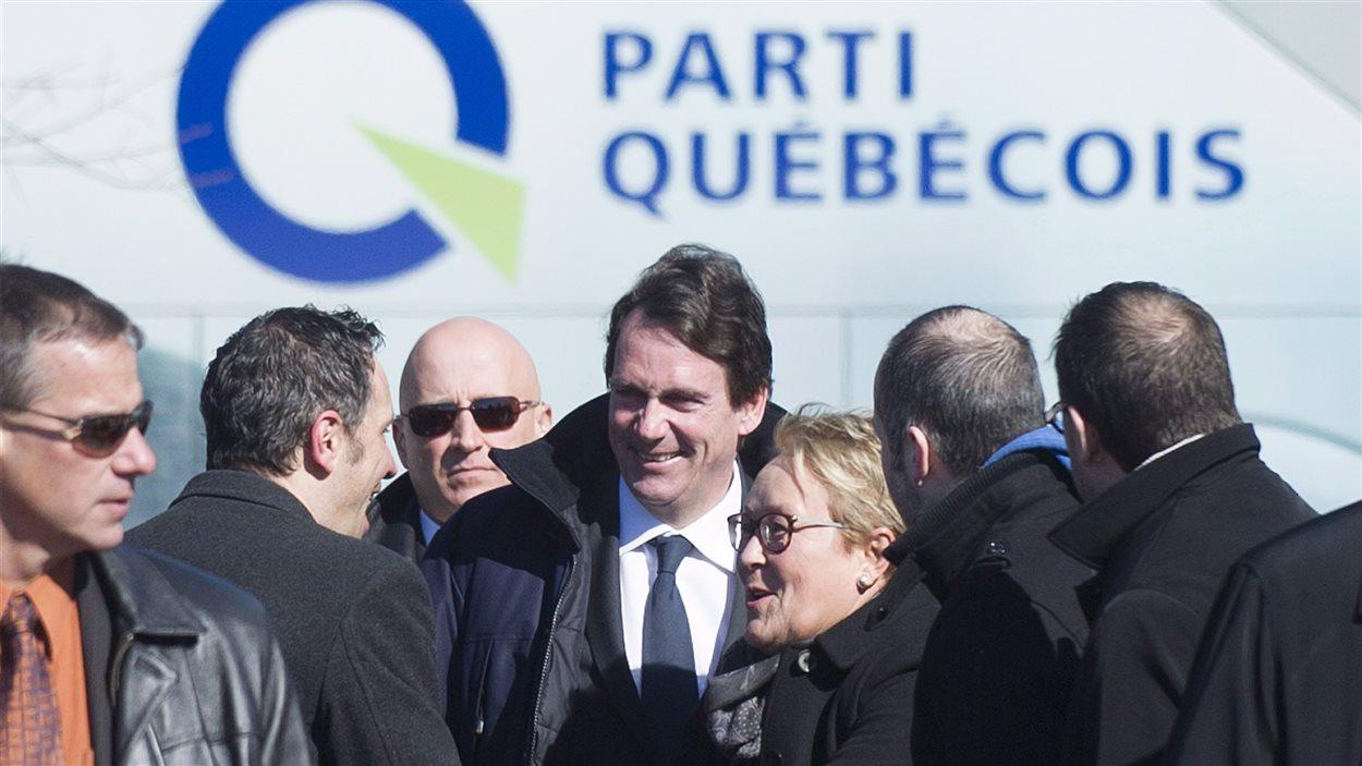 Pierre Karl Péladeau lors de l'annonce de sa candidature pour le Parti québécois.