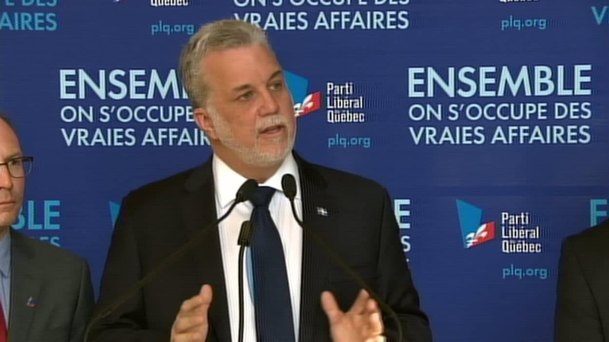 Le chef libéral, Philippe Couillard, le 18 mars, à Bécancour
