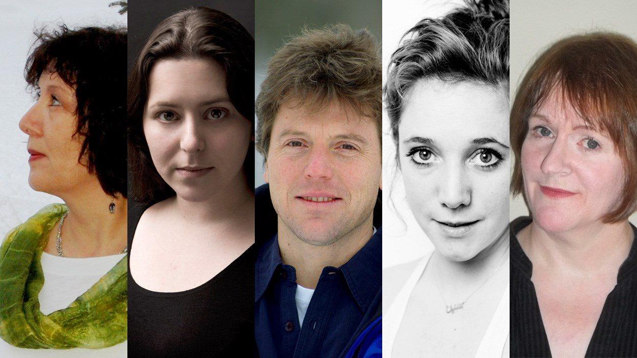 Les cinq finalistes du Prix de la nouvelle Radio-Canada 2014.