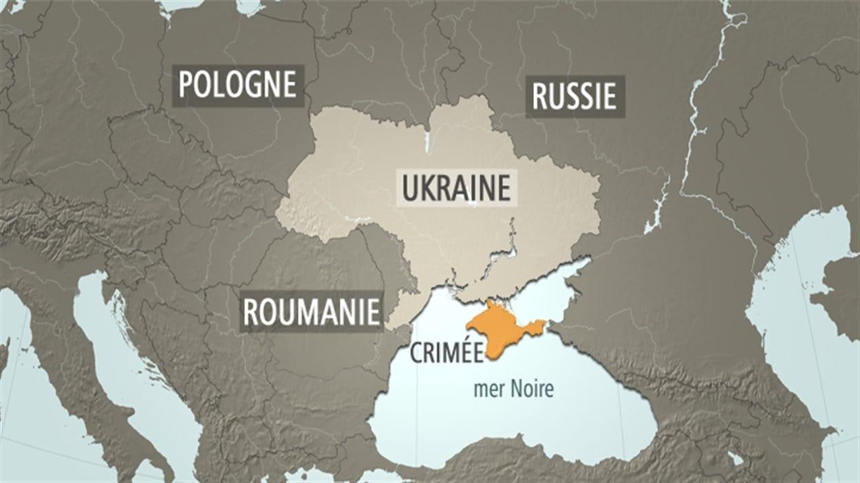 Carte Ukraine, Russie et Crimée