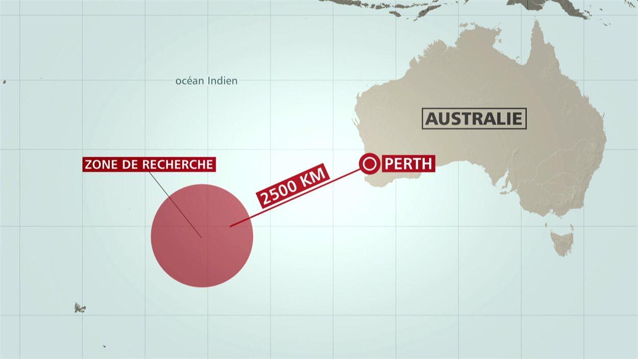 Carte de la zone de recherche au large de l'Australie.