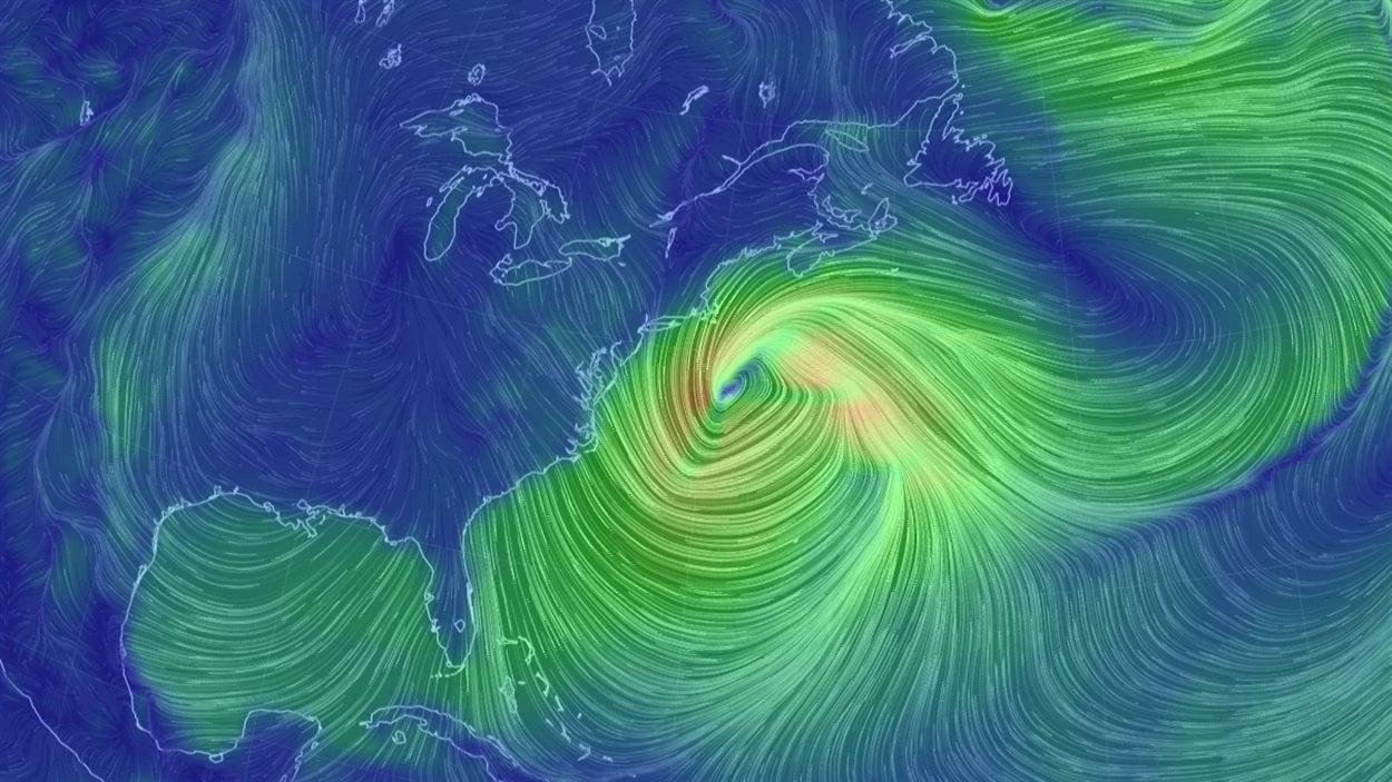 Image de la tempête sur la côte est de l'Amérique du Nord