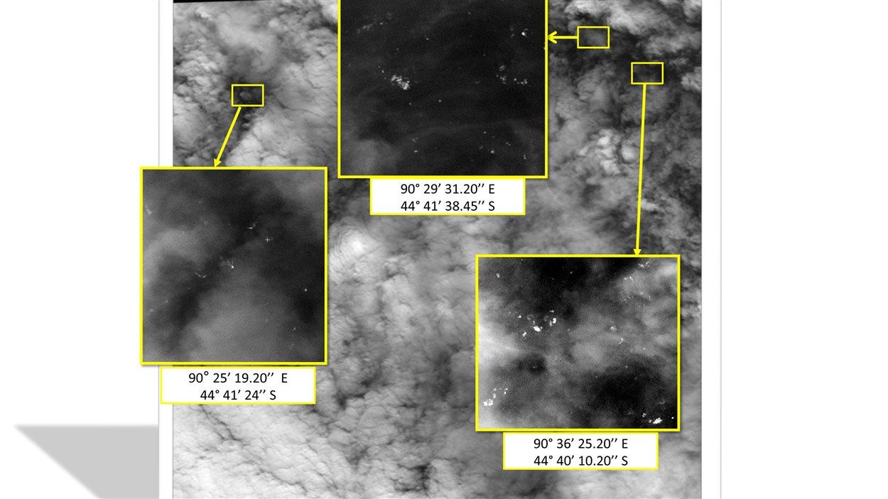 Cette photo diffusée jeudi par l'agence de télédétection malaisienne montre des images prises le 23 mars par un satellite français montrant plus d'une centaine d'objets flottants dans le sud de l'océan indien.