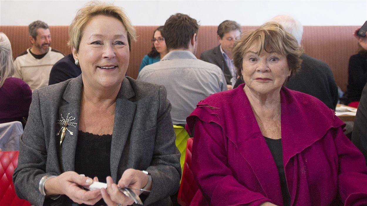 Pauline Marois et Janette Bertrand au brunch du PQ sur la laïcité.