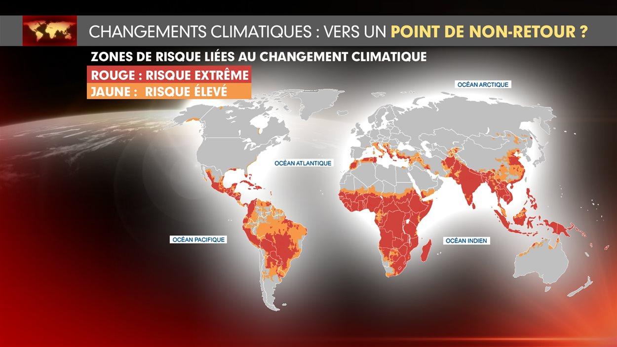 Carte des zones de risque liées au changement climatique