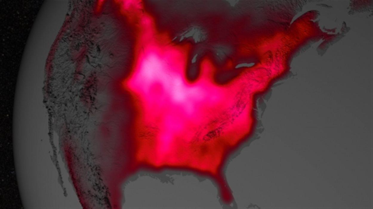 Dans cette visualisation, la couleur rouge représente la fluorescence émise par les plantes mesurée au début juillet, de 2007 à 2011.