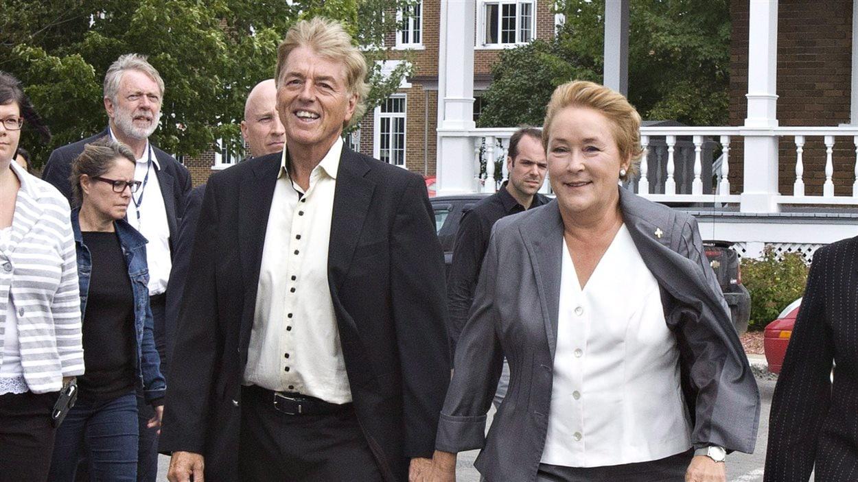 Claude Blanchet et Pauline Marois, à Beaupré, le 4 septembre 2012