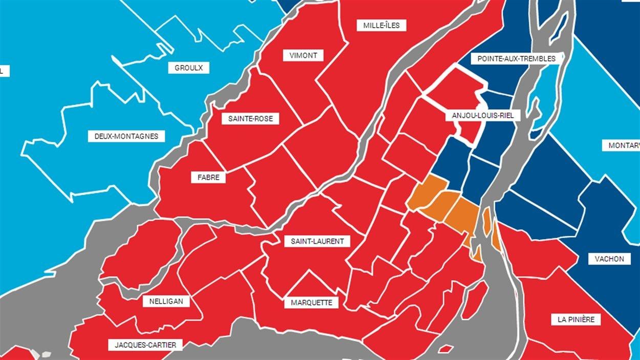 Résultats électoraux sur l'île de Montréal et à Laval : circonscriptions libérales en rouge, péquistes en bleu et solidaires en orange