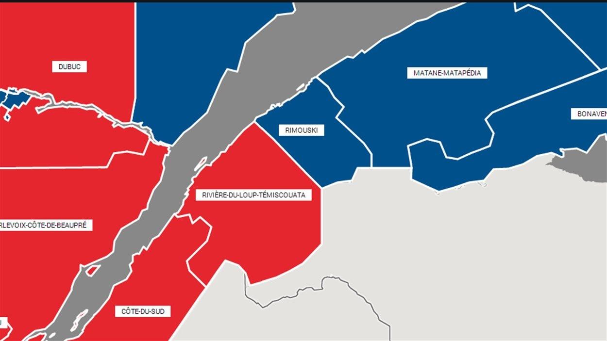 Les quatre circonscriptions du Bas-Saint-Laurent